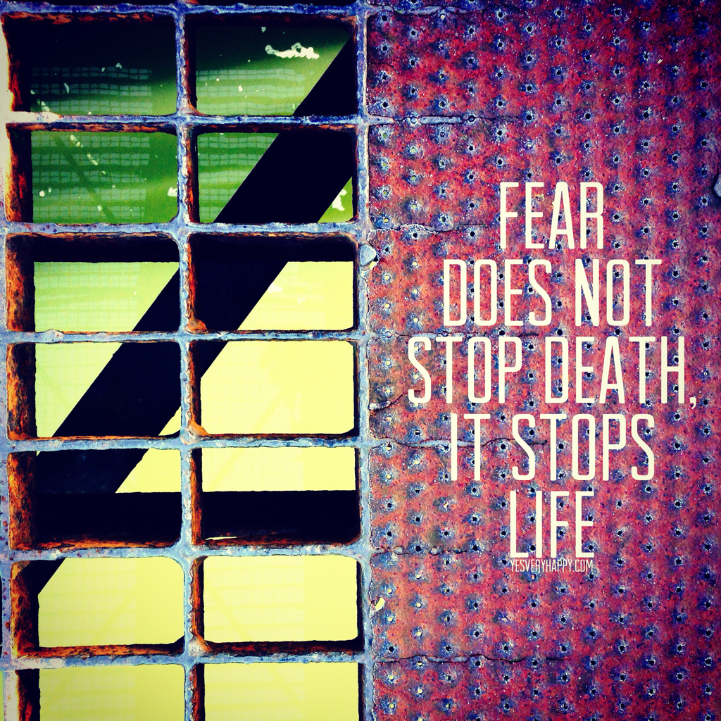 Fear Does Not Stop Death, It Stops Life yesveryhappy.com